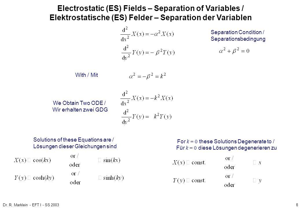 Dr. R. Marklein - EFT I - SS 20038 ES Fields / ES Felder Poisson and Laplace Equation / Poisson- und Laplace-Gleichung (3) Electrostatic (ES) Fields –
