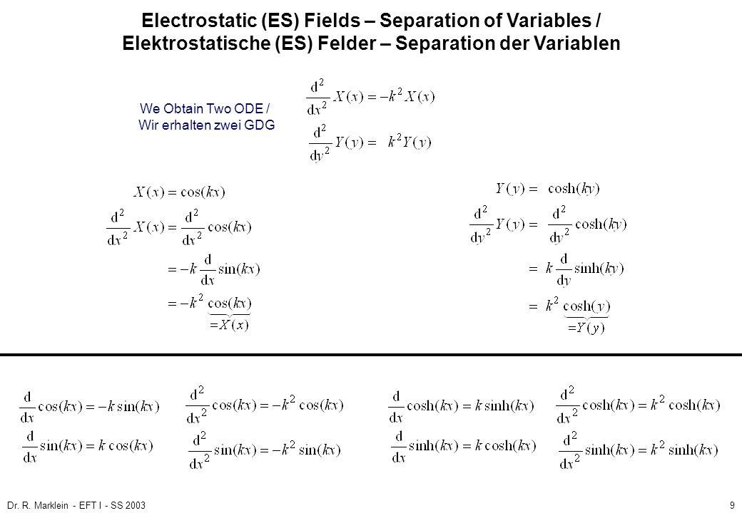 Dr. R. Marklein - EFT I - SS 20039 ES Fields / ES Felder Poisson and Laplace Equation / Poisson- und Laplace-Gleichung (3) Electrostatic (ES) Fields –