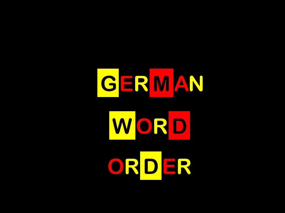 GERMAN WORD ORDER ORDER s