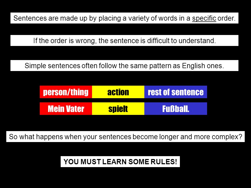 The normal position of verbs Asking a question using a question word Asking a question without using a question word The effect of using linking words The position of past participles & infinitives There are rules regarding: Time, manner, place word order
