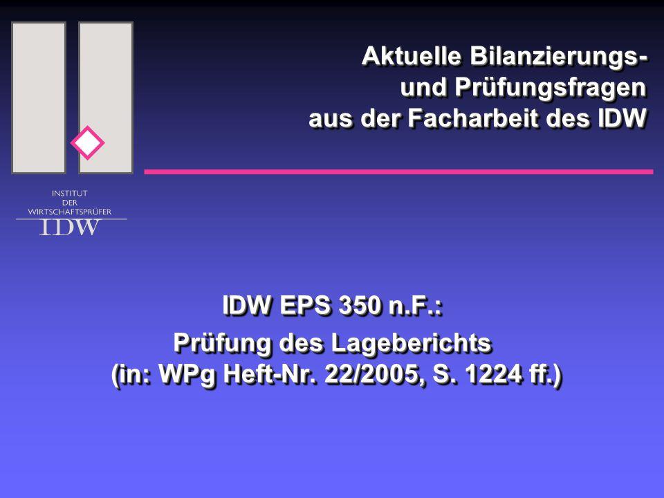 Aktuelle Bilanzierungs- und Prüfungsfragen aus der Facharbeit des IDW IDW EPS 350 n.F.: Prüfung des Lageberichts (in: WPg Heft-Nr.