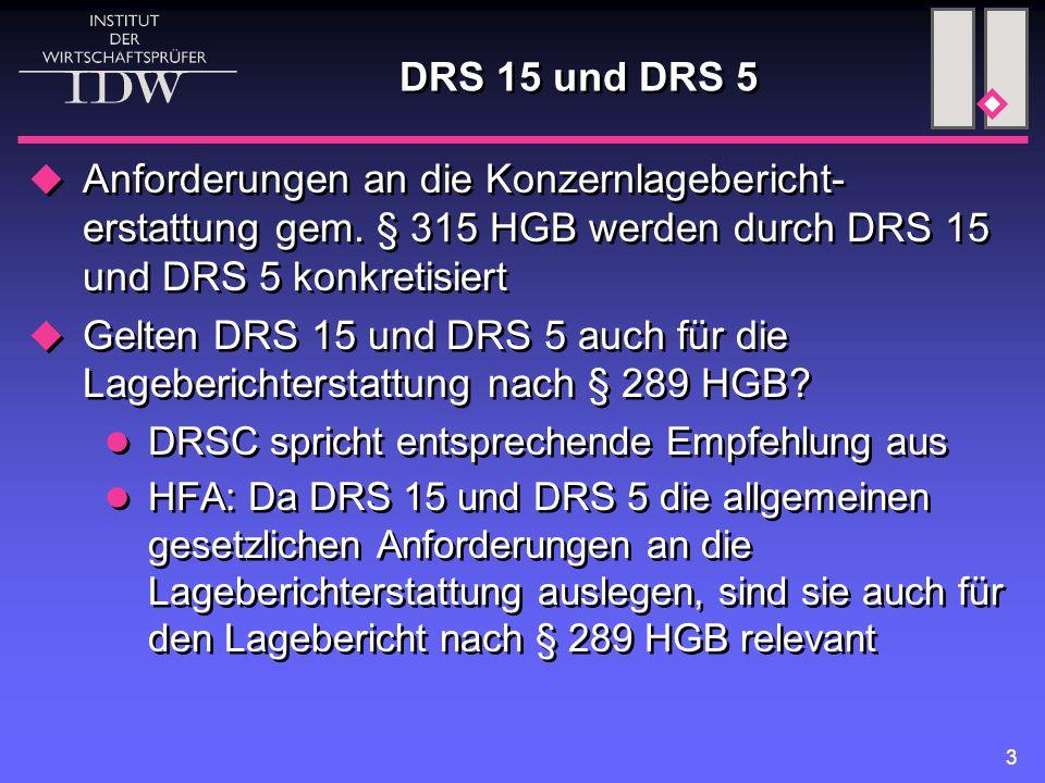 3 DRS 15 und DRS 5  Anforderungen an die Konzernlagebericht- erstattung gem.