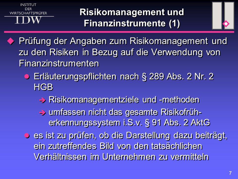 7 Risikomanagement und Finanzinstrumente (1)  Prüfung der Angaben zum Risikomanagement und zu den Risiken in Bezug auf die Verwendung von Finanzinstrumenten Erläuterungspflichten nach § 289 Abs.