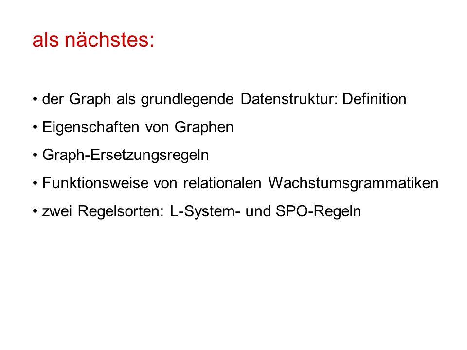 als nächstes: der Graph als grundlegende Datenstruktur: Definition Eigenschaften von Graphen Graph-Ersetzungsregeln Funktionsweise von relationalen Wachstumsgrammatiken zwei Regelsorten: L-System- und SPO-Regeln