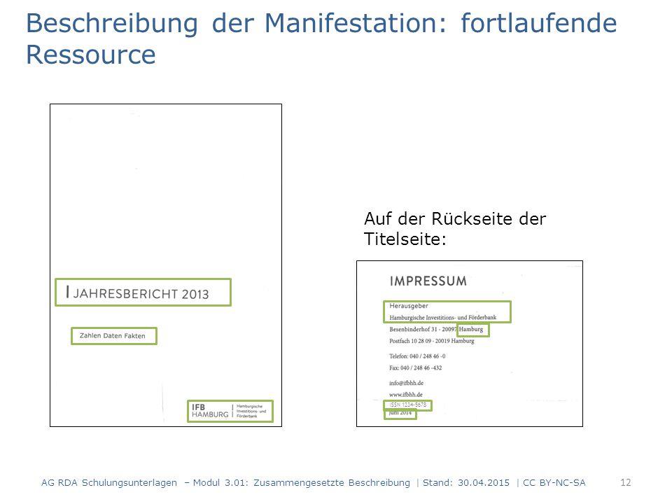 Beschreibung der Manifestation: fortlaufende Ressource Auf der Rückseite der Titelseite: ISSN 1234-5678 AG RDA Schulungsunterlagen – Modul 3.01: Zusam