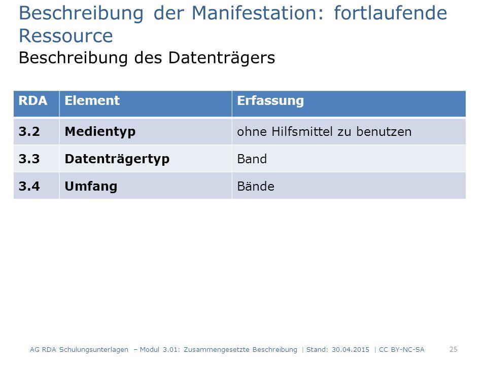 Beschreibung der Manifestation: fortlaufende Ressource Beschreibung des Datenträgers RDAElementErfassung 3.2Medientypohne Hilfsmittel zu benutzen 3.3D