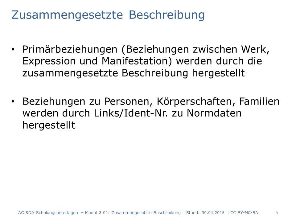 Beschreibung des Werks und der Expression: einzelne Einheit 186 Seiten, Christoph Hein wurde 1944 geboren, die Sprache des Textes ist Deutsch AG RDA Schulungsunterlagen – Modul 3.01: Zusammengesetzte Beschreibung | Stand: 30.04.2015 | CC BY-NC-SA 26