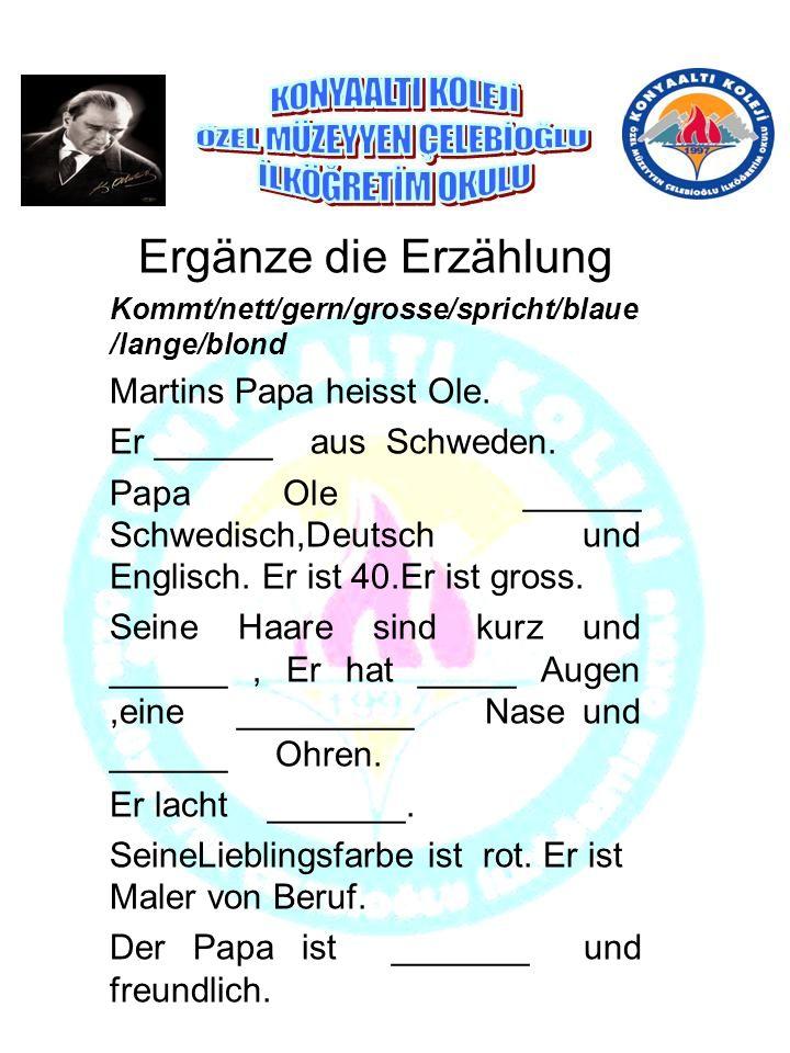 Ergänze die Erzählung Kommt/nett/gern/grosse/spricht/blaue /lange/blond Martins Papa heisst Ole.