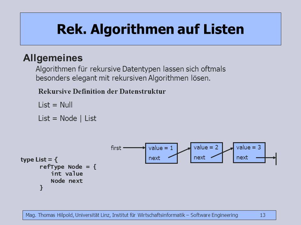 Mag. Thomas Hilpold, Universität Linz, Institut für Wirtschaftsinformatik – Software Engineering 13 Rek. Algorithmen auf Listen Allgemeines Algorithme