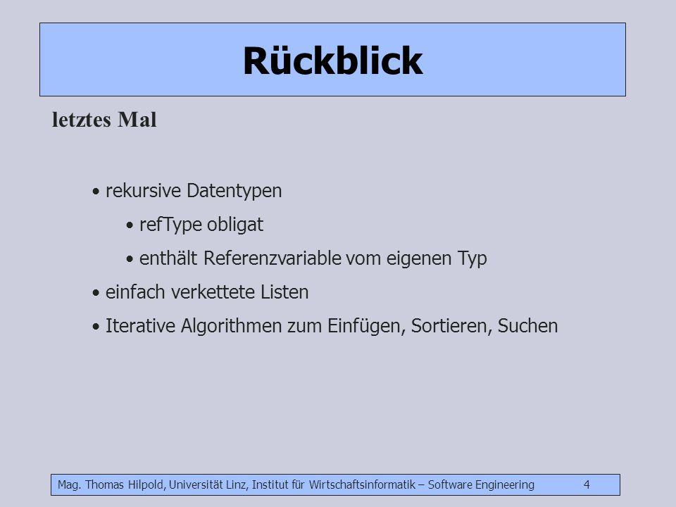 Mag. Thomas Hilpold, Universität Linz, Institut für Wirtschaftsinformatik – Software Engineering 4 Rückblick letztes Mal rekursive Datentypen refType