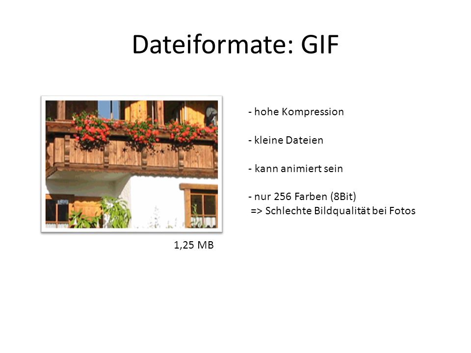 Dateiformate: GIF - hohe Kompression - kleine Dateien - kann animiert sein - nur 256 Farben (8Bit) => Schlechte Bildqualität bei Fotos 1,25 MB