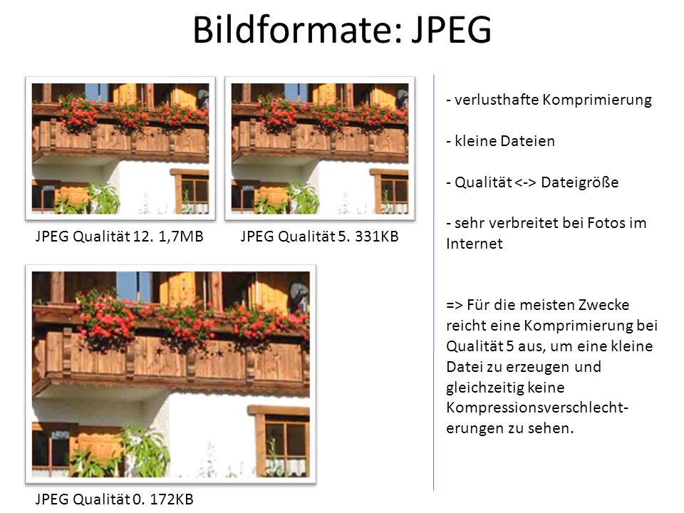 Bildformate: JPEG JPEG Qualität 12. 1,7MBJPEG Qualität 5. 331KB JPEG Qualität 0. 172KB - verlusthafte Komprimierung - kleine Dateien - Qualität Dateig