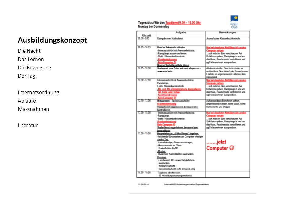 Ausbildungskonzept Die Nacht Das Lernen Die Bewegung Der Tag Internatsordnung Abläufe Massnahmen Literatur
