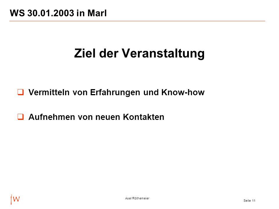 jw Axel Röthemeier Seite 11 WS 30.01.2003 in Marl  Ziel der Veranstaltung  Vermitteln von Erfahrungen und Know-how  Aufnehmen von neuen Kontakten
