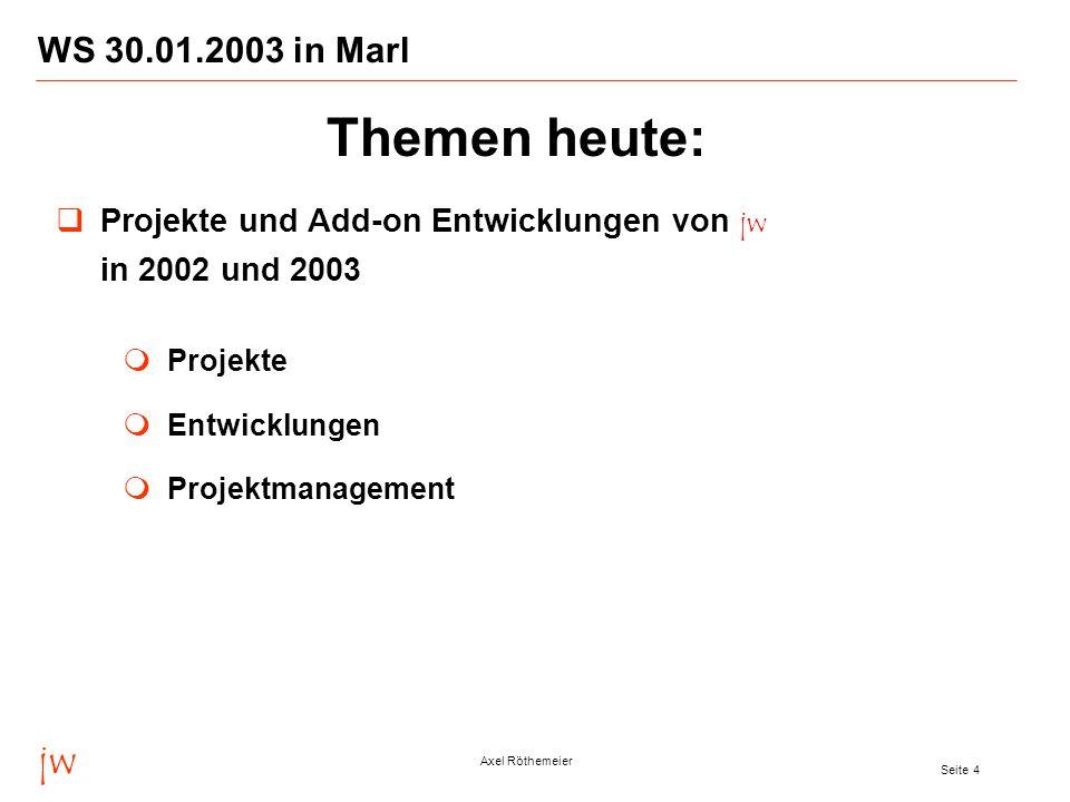 jw Axel Röthemeier Seite 4 WS 30.01.2003 in Marl  Projekte und Add-on Entwicklungen von jw in 2002 und 2003  Projekte  Entwicklungen  Projektmanagement Themen heute: