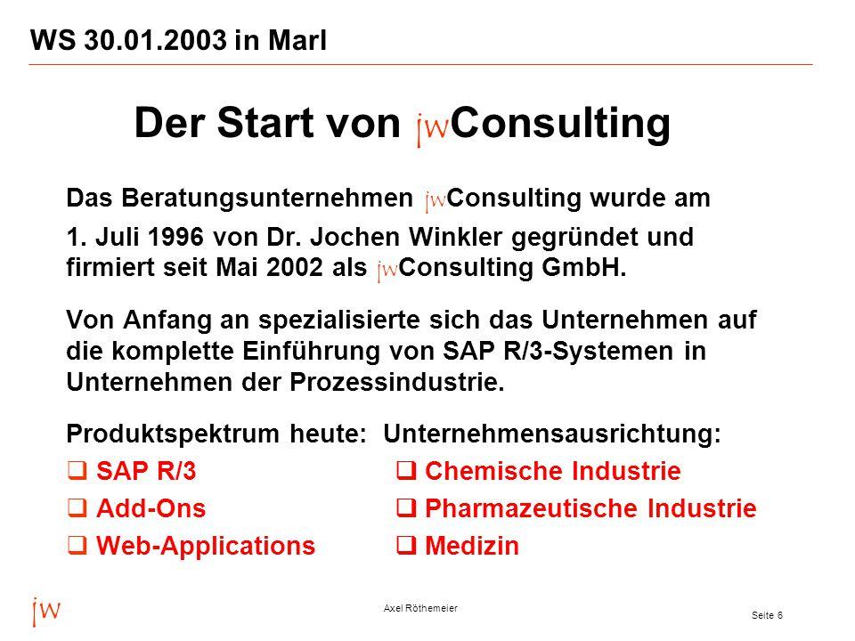 jw Axel Röthemeier Seite 6 WS 30.01.2003 in Marl Das Beratungsunternehmen jw Consulting wurde am 1.