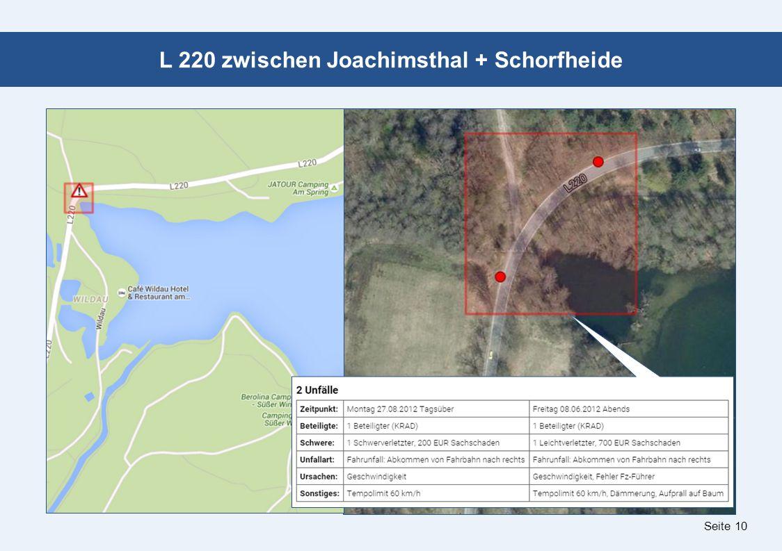 Seite 10 L 220 zwischen Joachimsthal + Schorfheide