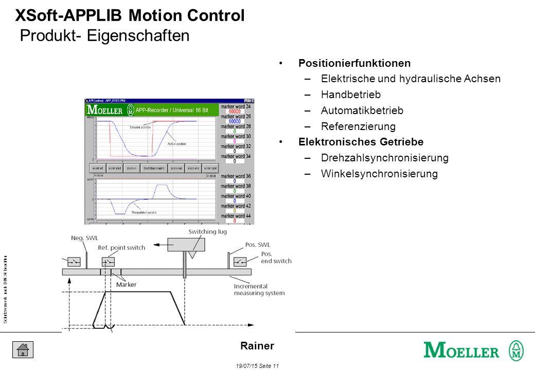 Schutzvermerk nach DIN 34 beachten 19/07/15 Seite 11 Rainer XSoft-APPLIB Motion Control Produkt- Eigenschaften Positionierfunktionen –Elektrische und