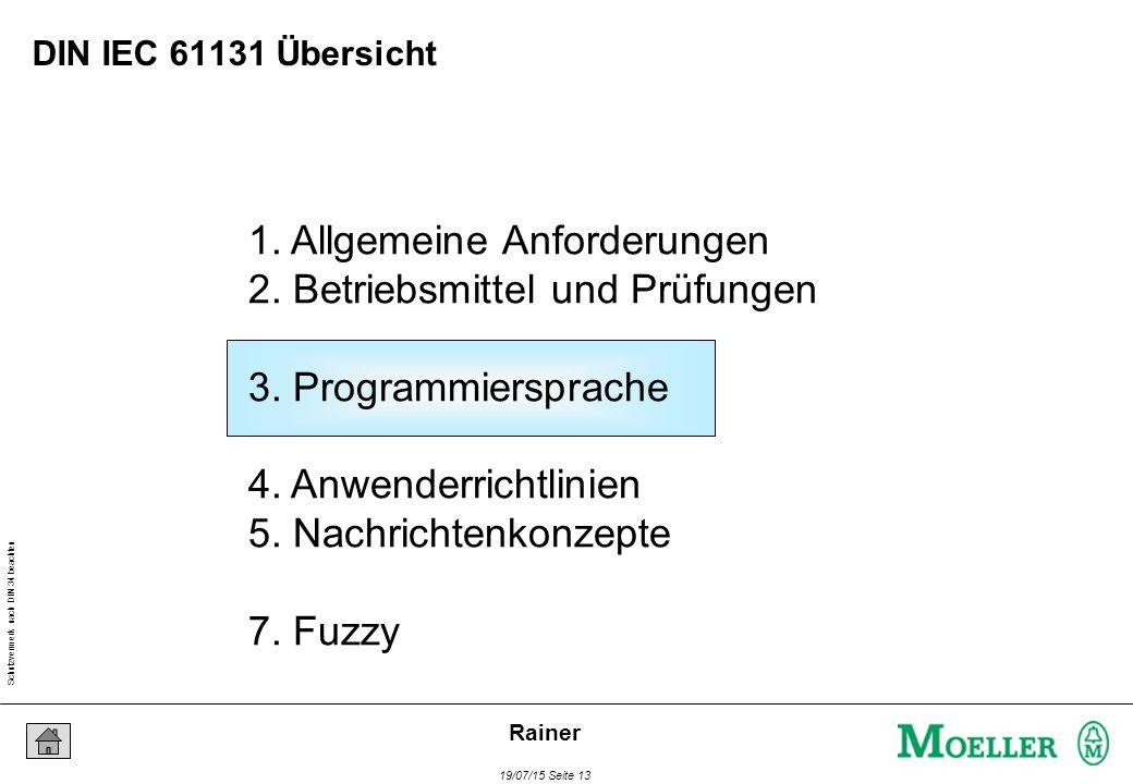 Schutzvermerk nach DIN 34 beachten 19/07/15 Seite 13 Rainer 1. Allgemeine Anforderungen 2. Betriebsmittel und Prüfungen 3. Programmiersprache 4. Anwen