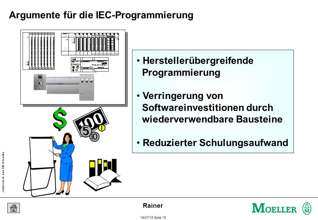 Schutzvermerk nach DIN 34 beachten 19/07/15 Seite 15 Rainer Herstellerübergreifende Programmierung Verringerung von Softwareinvestitionen durch wiederverwendbare Bausteine Reduzierter Schulungsaufwand Argumente für die IEC-Programmierung
