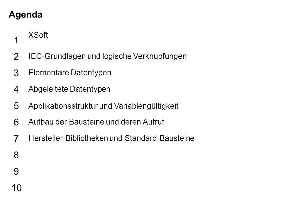 Schutzvermerk nach DIN 34 beachten 19/07/15 Seite 2 Rainer Agenda 5 6 7 8 9 10 1 2 3 4 XSoft IEC-Grundlagen und logische Verknüpfungen Elementare Date