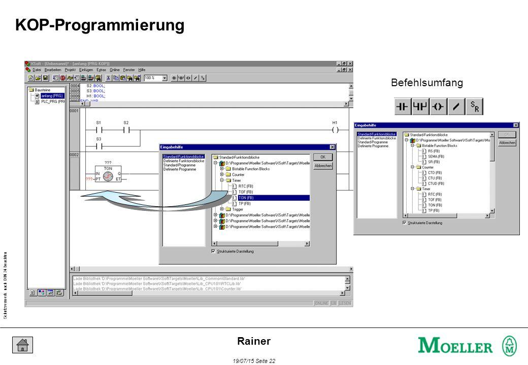 Schutzvermerk nach DIN 34 beachten 19/07/15 Seite 22 Rainer Befehlsumfang KOP-Programmierung