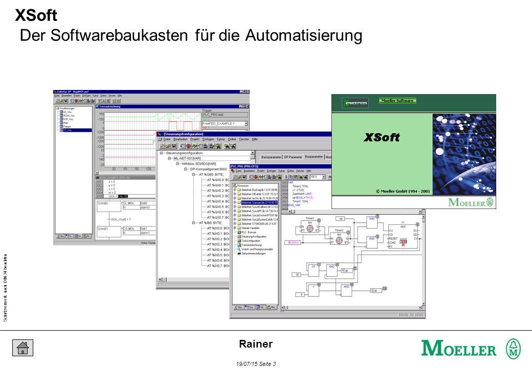 Schutzvermerk nach DIN 34 beachten 19/07/15 Seite 3 Rainer XSoft Der Softwarebaukasten für die Automatisierung