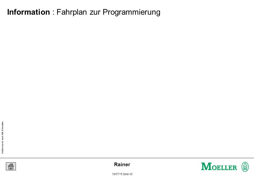 Schutzvermerk nach DIN 34 beachten 19/07/15 Seite 40 Rainer Information : Fahrplan zur Programmierung