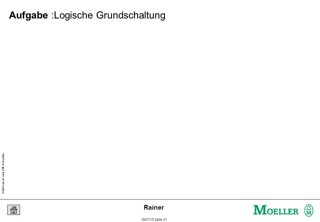 Schutzvermerk nach DIN 34 beachten 19/07/15 Seite 41 Rainer Aufgabe :Logische Grundschaltung