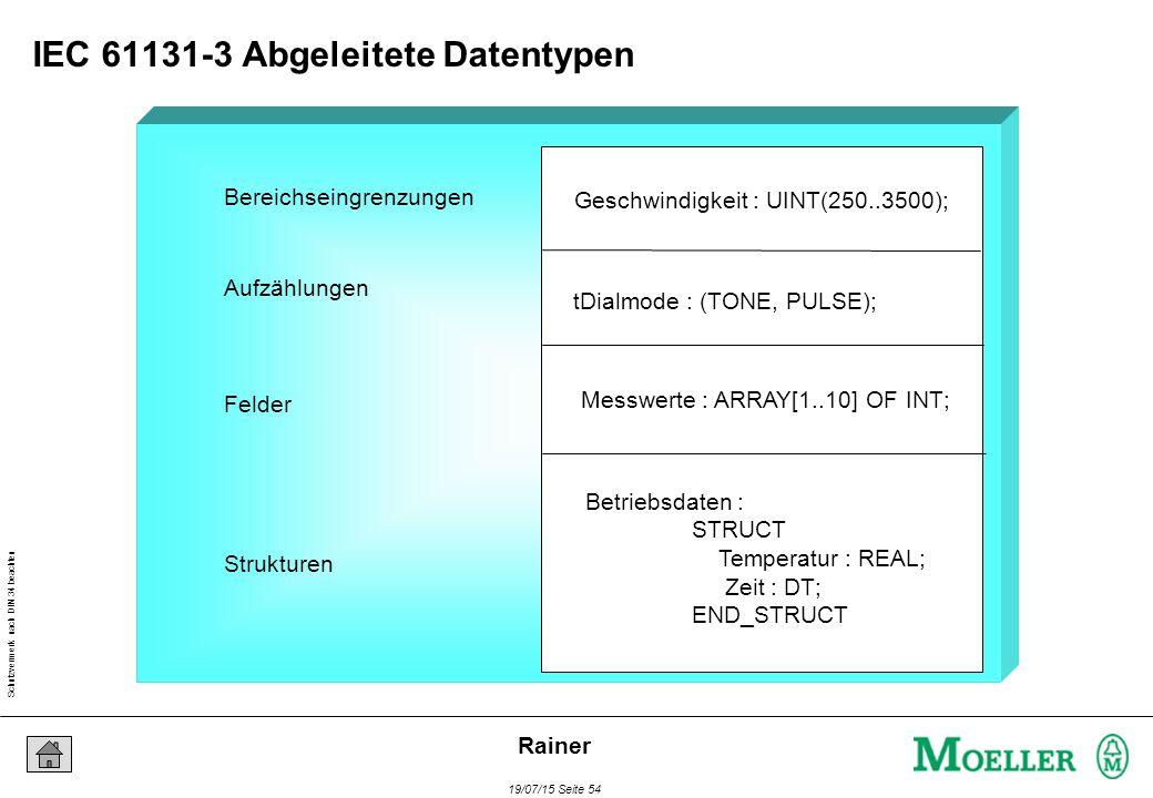 Schutzvermerk nach DIN 34 beachten 19/07/15 Seite 54 Rainer Bereichseingrenzungen Geschwindigkeit : UINT(250..3500); Aufzählungen tDialmode : (TONE, PULSE); Felder Strukturen Messwerte : ARRAY[1..10] OF INT; Betriebsdaten : STRUCT Temperatur : REAL; Zeit : DT; END_STRUCT IEC 61131-3 Abgeleitete Datentypen
