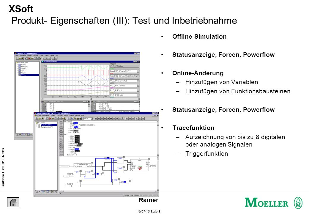 Schutzvermerk nach DIN 34 beachten 19/07/15 Seite 6 Rainer XSoft Produkt- Eigenschaften (III): Test und Inbetriebnahme Offline Simulation Statusanzeig