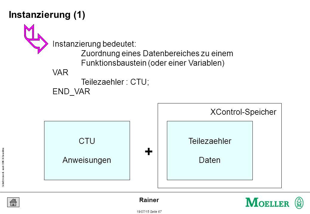 Schutzvermerk nach DIN 34 beachten 19/07/15 Seite 67 Rainer Instanzierung bedeutet: Zuordnung eines Datenbereiches zu einem Funktionsbaustein (oder einer Variablen) VAR Teilezaehler : CTU; END_VAR CTU Anweisungen + Teilezaehler Daten XControl-Speicher Instanzierung (1)