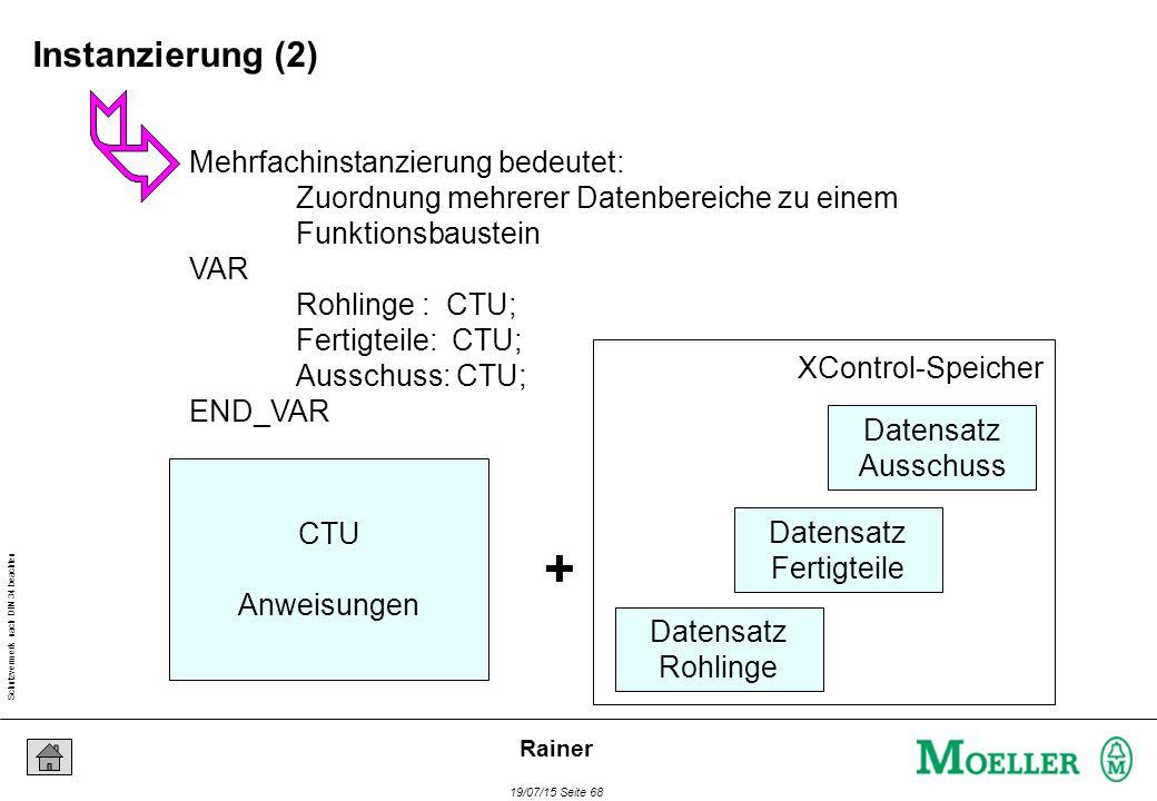 Schutzvermerk nach DIN 34 beachten 19/07/15 Seite 68 Rainer Mehrfachinstanzierung bedeutet: Zuordnung mehrerer Datenbereiche zu einem Funktionsbaustei