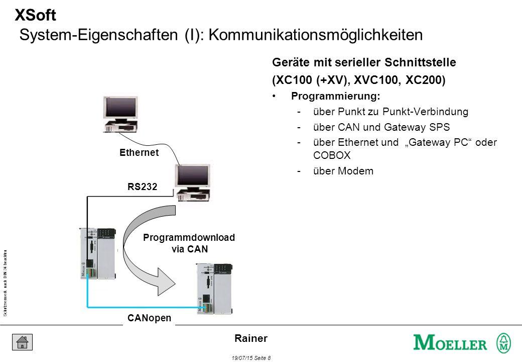 """Schutzvermerk nach DIN 34 beachten 19/07/15 Seite 8 Rainer XSoft System-Eigenschaften (I): Kommunikationsmöglichkeiten Geräte mit serieller Schnittstelle (XC100 (+XV), XVC100, XC200) Programmierung: -über Punkt zu Punkt-Verbindung -über CAN und Gateway SPS -über Ethernet und """"Gateway PC oder COBOX -über Modem Ethernet RS232 CANopen Programmdownload via CAN"""