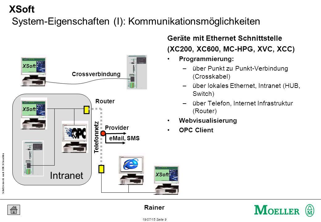 Schutzvermerk nach DIN 34 beachten 19/07/15 Seite 9 Rainer Telefonnetz Provider Router eMail, SMS 1 XSoft System-Eigenschaften (I): Kommunikationsmöglichkeiten Geräte mit Ethernet Schnittstelle (XC200, XC600, MC-HPG, XVC, XCC) Programmierung: –über Punkt zu Punkt-Verbindung (Crosskabel) –über lokales Ethernet, Intranet (HUB, Switch) –über Telefon, Internet Infrastruktur (Router) Webvisualisierung OPC Client XSoft Crossverbindung XSoft Intranet