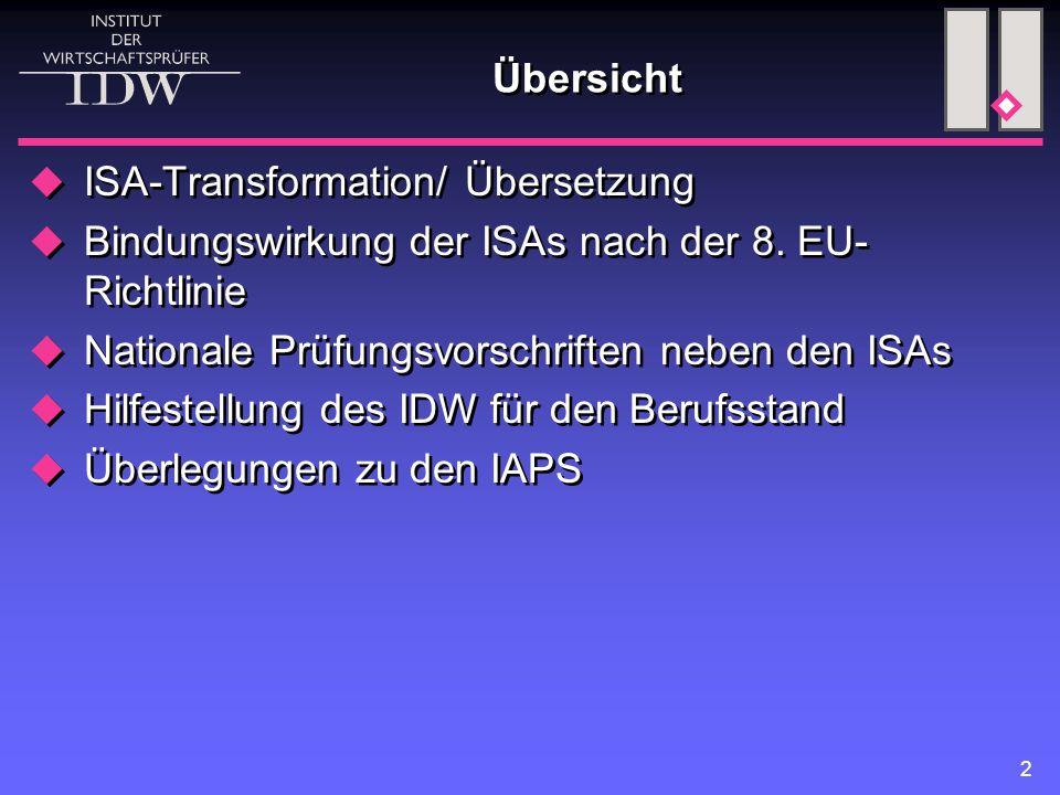2 Übersicht  ISA-Transformation/ Übersetzung  Bindungswirkung der ISAs nach der 8.