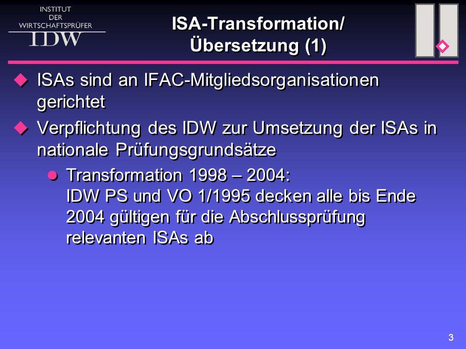 3 ISA-Transformation/ Übersetzung (1)  ISAs sind an IFAC-Mitgliedsorganisationen gerichtet  Verpflichtung des IDW zur Umsetzung der ISAs in nationale Prüfungsgrundsätze Transformation 1998 – 2004: IDW PS und VO 1/1995 decken alle bis Ende 2004 gültigen für die Abschlussprüfung relevanten ISAs ab  ISAs sind an IFAC-Mitgliedsorganisationen gerichtet  Verpflichtung des IDW zur Umsetzung der ISAs in nationale Prüfungsgrundsätze Transformation 1998 – 2004: IDW PS und VO 1/1995 decken alle bis Ende 2004 gültigen für die Abschlussprüfung relevanten ISAs ab