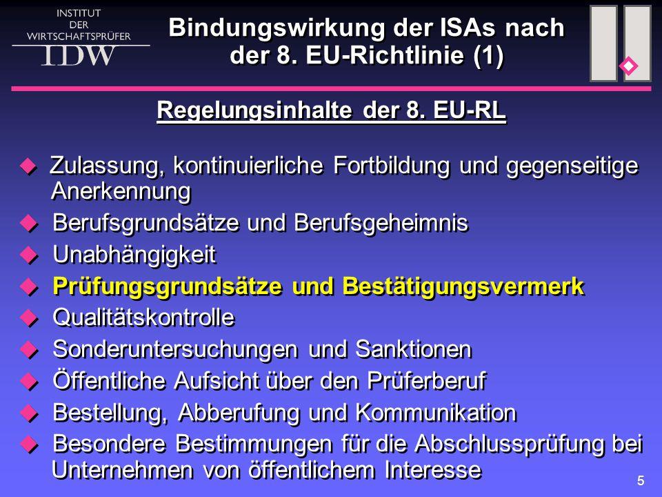 """6  Inhalt der künftigen EU-Regelung für den WP Pflicht zur unmittelbaren Anwendung der ISAs bei gesetzlichen Abschlussprüfungen, soweit die ISAs von der EU angenommen sind (""""adoption ) eingeschränkte nationale Ergänzungen, wenn diese sich aus speziellen, durch den Gegenstand der Abschlussprüfung bedingten Anforderungen ergeben Carve-outs in seltenen Fällen  Umsetzung durch Mitgliedsstaaten innerhalb von zwei Jahren  Inhalt der künftigen EU-Regelung für den WP Pflicht zur unmittelbaren Anwendung der ISAs bei gesetzlichen Abschlussprüfungen, soweit die ISAs von der EU angenommen sind (""""adoption ) eingeschränkte nationale Ergänzungen, wenn diese sich aus speziellen, durch den Gegenstand der Abschlussprüfung bedingten Anforderungen ergeben Carve-outs in seltenen Fällen  Umsetzung durch Mitgliedsstaaten innerhalb von zwei Jahren Bindungswirkung der ISAs nach der 8."""