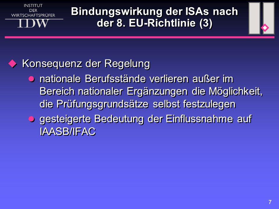 7  Konsequenz der Regelung nationale Berufsstände verlieren außer im Bereich nationaler Ergänzungen die Möglichkeit, die Prüfungsgrundsätze selbst festzulegen gesteigerte Bedeutung der Einflussnahme auf IAASB/IFAC  Konsequenz der Regelung nationale Berufsstände verlieren außer im Bereich nationaler Ergänzungen die Möglichkeit, die Prüfungsgrundsätze selbst festzulegen gesteigerte Bedeutung der Einflussnahme auf IAASB/IFAC Bindungswirkung der ISAs nach der 8.