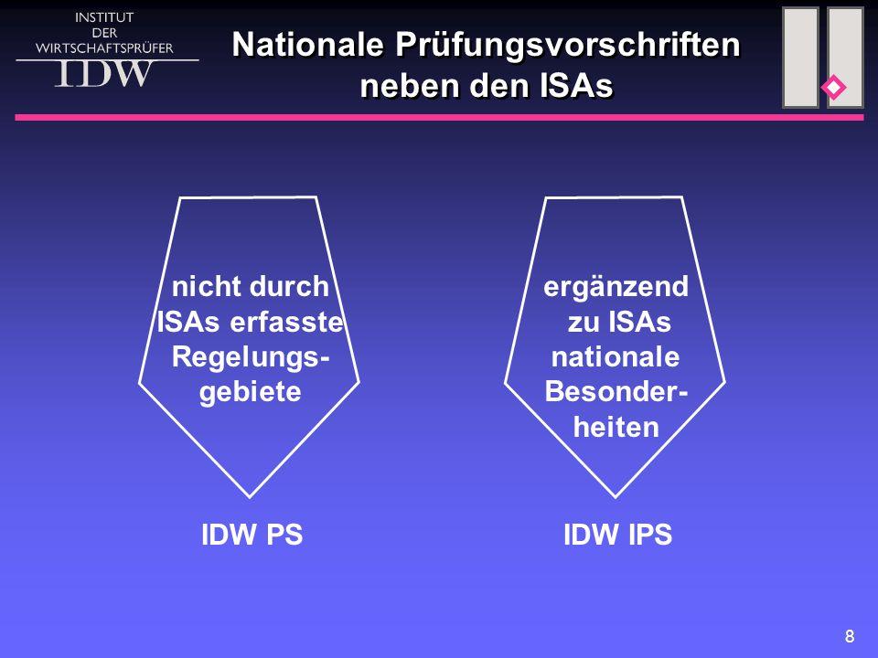 8 Nationale Prüfungsvorschriften neben den ISAs nicht durch ISAs erfasste Regelungs- gebiete ergänzend zu ISAs nationale Besonder- heiten IDW PSIDW IPS