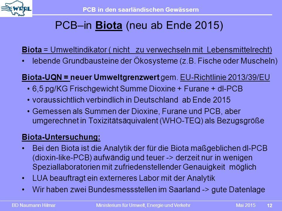 BD Naumann Hilmar Ministerium für Umwelt, Energie und Verkehr Mai 2015 PCB in den saarländischen Gewässern Biota = Umweltindikator ( nicht zu verwechs