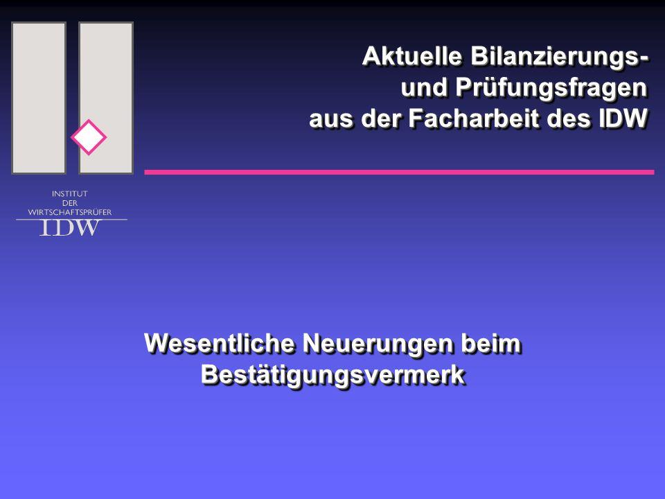 2 Wesentliche Neuerungen in § 322 HGB durch das BilReG  Pflicht zur Angabe der angewandten Rechnungsle- gungs- und Prüfungsgrundsätze im Bestätigungsver- merk (Abs.