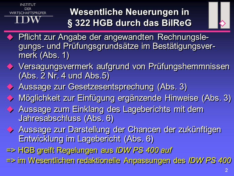 3 Bestätigungsvermerk nach § 322 HGB i.d.F.