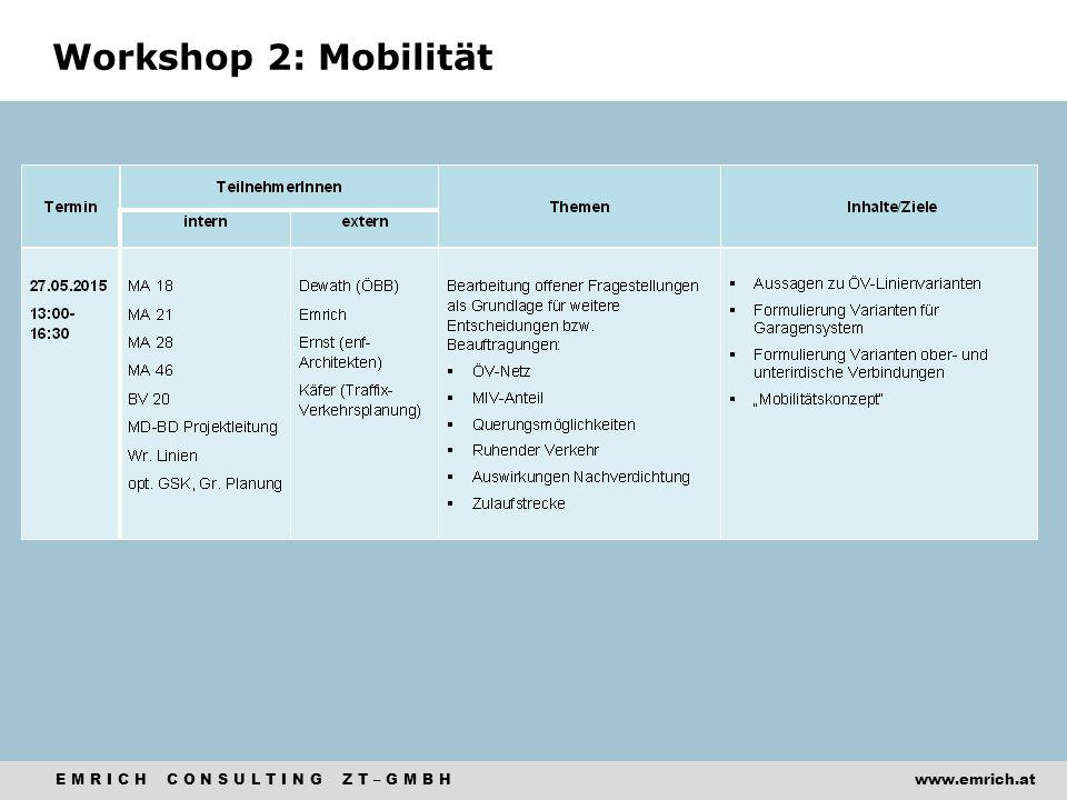 E M R I C H C O N S U L T I N G Z T – G M B Hwww.emrich.at Workshop 2: Mobilität