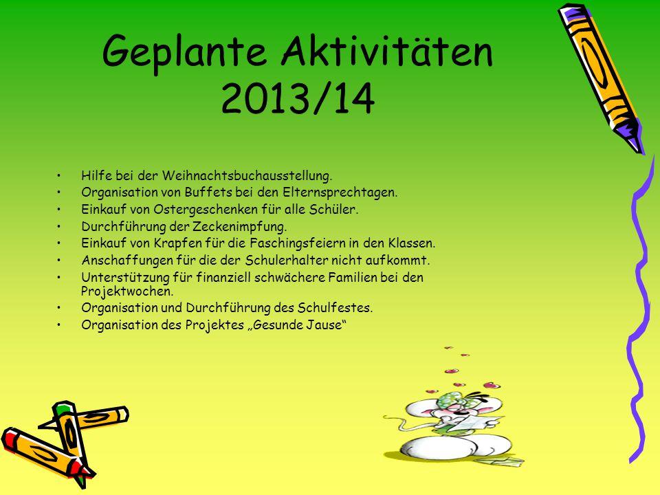 Geplante Aktivitäten 2013/14 Hilfe bei der Weihnachtsbuchausstellung.