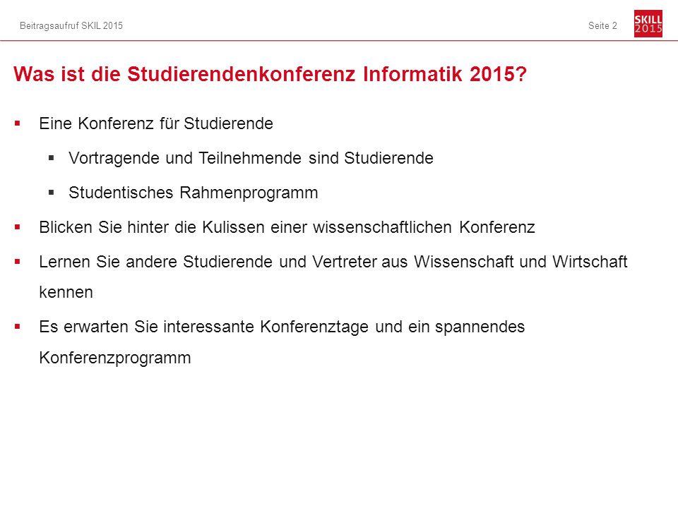 Was ist die Studierendenkonferenz Informatik 2015.