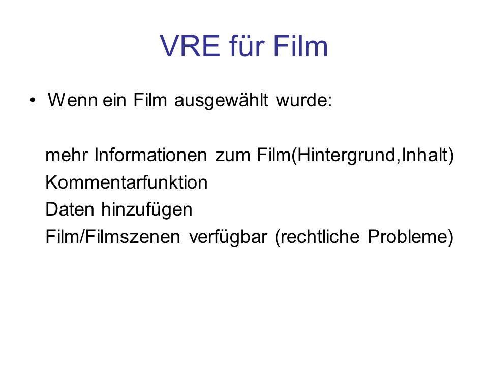 VRE für Film Wenn ein Film ausgewählt wurde: mehr Informationen zum Film(Hintergrund,Inhalt) Kommentarfunktion Daten hinzufügen Film/Filmszenen verfügbar (rechtliche Probleme)