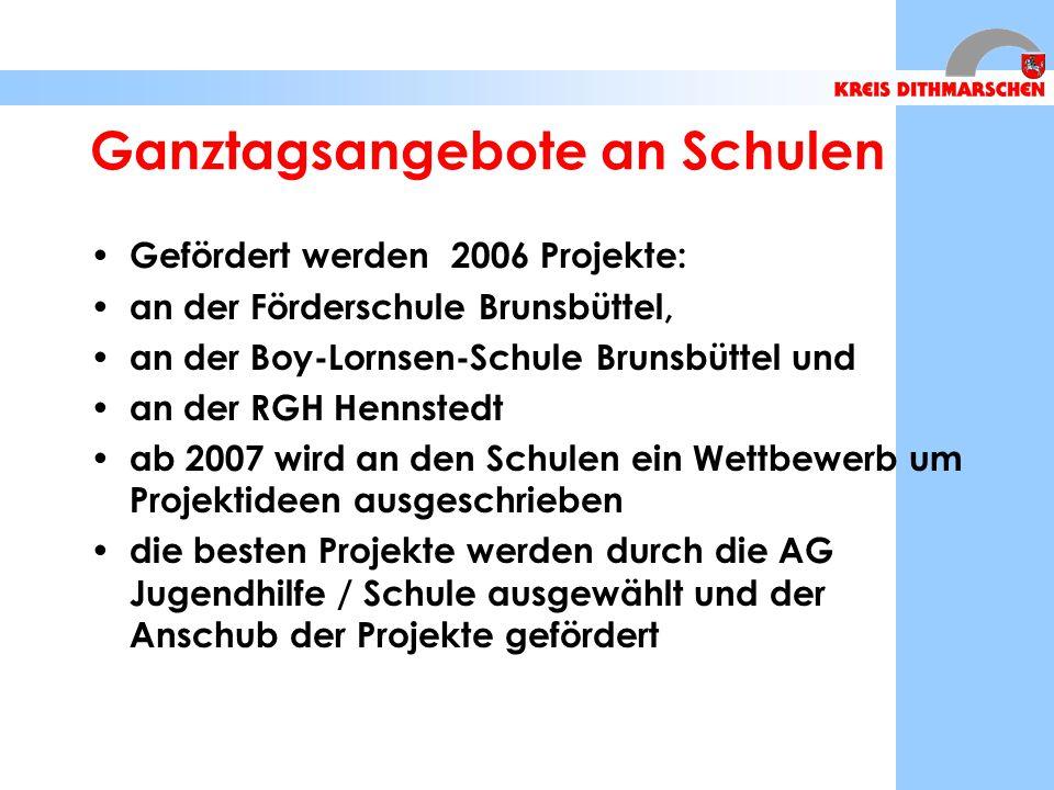 Ganztagsangebote an Schulen Gefördert werden 2006 Projekte: an der Förderschule Brunsbüttel, an der Boy-Lornsen-Schule Brunsbüttel und an der RGH Hennstedt ab 2007 wird an den Schulen ein Wettbewerb um Projektideen ausgeschrieben die besten Projekte werden durch die AG Jugendhilfe / Schule ausgewählt und der Anschub der Projekte gefördert