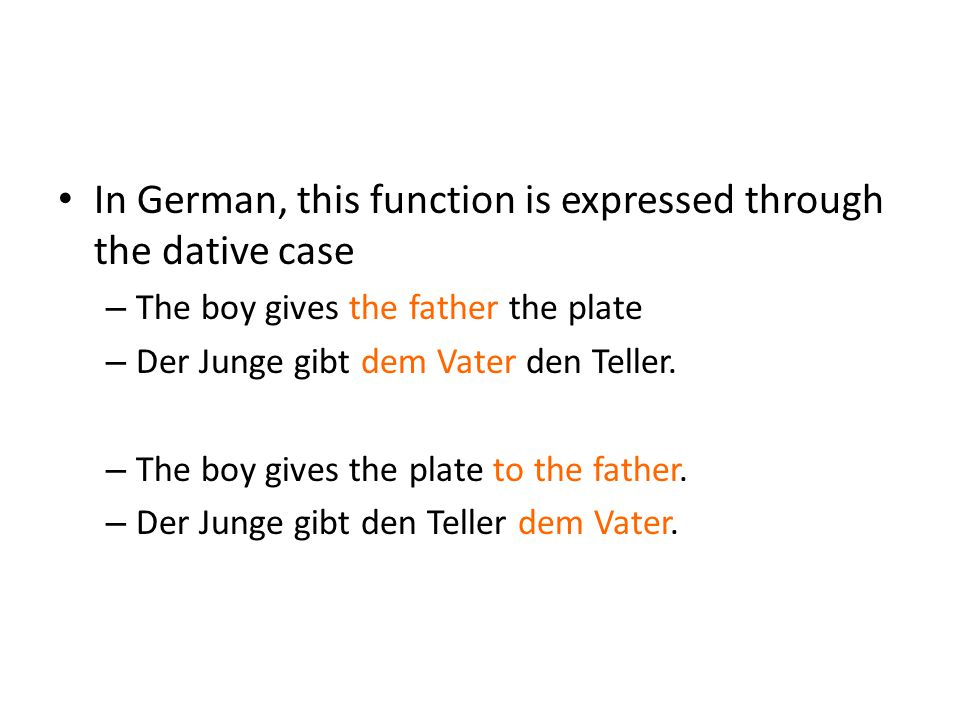 In German, this function is expressed through the dative case – The boy gives the father the plate – Der Junge gibt dem Vater den Teller. – The boy gi
