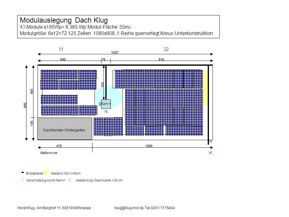 Verschattung durch Kamin Blitzableiter Abstand Soll >40cm Abstand zur Dachkante > 30 cm Dachfenster Wintergarten 1537 540 75915 660 195 465 75 70 Maße in cm 4781059 30 Kamin 65 300 Horst Klug, Am Berghof 11, 59519 Möhneseeklug@klug-md.de, Tel:0201-1715494 Modulauslegung Dach Klug 33 Module Modul-Fläche: 48,35m 2 Modulgröße: 6x9=54 156 Zellen 1480x990 quer montiert, Kreuz-Unterkonstruktion Dachfenster Wintergarten 1537 540 75915 660 195 465 75 70 Maße in cm 4781059 30 Kamin 65 300 924
